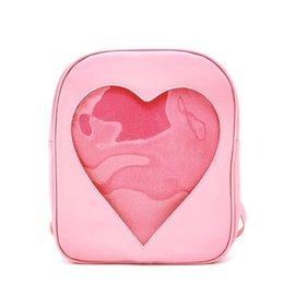 Wholesale Hollow Books - 2018 Summer Candy Transparent Love Heart Shape Backpacks Harajuku School Backpack Shoulder Bags For Teenager Girls Book Bags