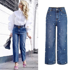 Wholesale Woman Blue Jeans Wide Legs - Woman High Waist Straight Jeans Wide Leg Casual Denim Pants Pearl Decorate Fashion Girl Blue Relaxed Jean