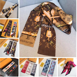 Wholesale gift bags for christmas - Luxury brand designer BAG scarf Headband women silk scraves 100% Top grade silk headband Can For Handbags size 8*120 cm