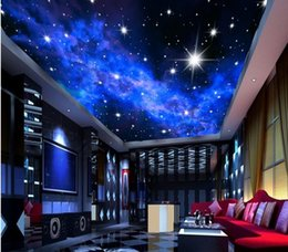 blocs en bois anciens Promotion Personnalisé photo papier peint KTV 3D étoiles Hôtels plafond de rêve salon chambre plafond étoiles lumineuses murale papier peint