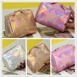 Wholesale Pink Lasers - 3 Colors New Unicorn Laser Cosmetic Bag Fashion Lady Mini Wash Bags Portable Clutch Travel Storage Bag CCA9374 12pcs