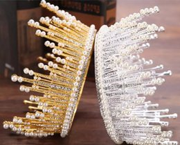 Wholesale Full Hairbands - Hot Sale 2018 Wedding Bridal Tiara Faux Pearls Rhinestone Full Circle Bridal Accessories Hair Crown Headpieces