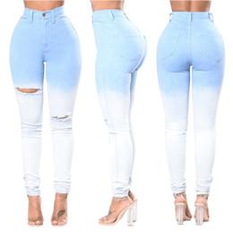 2020 i jeans colorati blu Jeans aderenti strappati tagliati moda Pantaloni blu con buco strappato a vita alta Pantaloni taglia più per le donne i jeans colorati blu economici