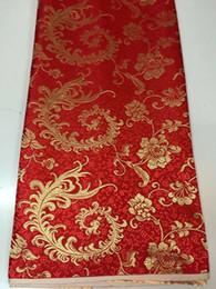 2019 bordado de ropa africana 8 metros / pc venta caliente tela de algodón africano rojo y oro patrón de fénix bordado suizo gasa de encaje para la ropa JC21-3 rebajas bordado de ropa africana