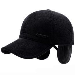 2ba29264a31 HT1889 Men Winter Caps Hats Striped Cotton Baseball Caps Warm Dad Hats with Ear  Flap Casual Adjustable Baseball Hat for Men