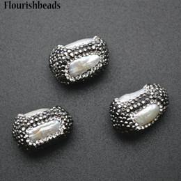 Pepitas de perlas online-Cristal negro y Natural Fresh Water Pearl Strip Nugget Pavimentado Cilindro Spacer Perlas Sueltas DIY Jewelry Making Supplies