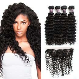 Wholesale Cheap Deep Wave Weave - Ishow Hair Brazilian Deepwave Human Hair Extensions Wholesale Cheap 8A Hair Bundles 4pcs With 13x4 Ear to Ear Lace Frontal Closure Weaves