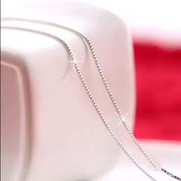 Wholesale Italian 925 - 925 Sterling Silver . Box Chain - Italian Necklace - Super Thin & Strong - FREE Gift w Order 16 inches-18 inches