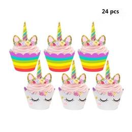 Wholesale Wrappers Baby - 24 pcs Cute Birthday Decoration Unicorn (12pcs Cupcake Wrappers +12pcs Cake Topper) Party decoration for Baby Shower Party Cake Decor