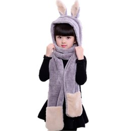 Wholesale Hooded Scarf Cute - Cute Rabbit Hooded Children's Scarf Hats Double Layer Faux Rabbit Fur Girls Scarfs Kawaii Cartoon Long Fur Scarf for Boy Scarves