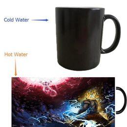 Wholesale Color Changing Magic Mug - goku vs frieza Dragon Ball Z mugs coffee mug heat changing color Heat reveal travel magic transforming beer travel