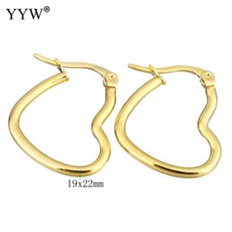 Wholesale Ear Loops Wholesale - whole saleYYW Lover European Party Fashion Gold Color Plated Stainless Steel Jewelry Ear Loops Earring Heart Circle Hoop Earrings Woman