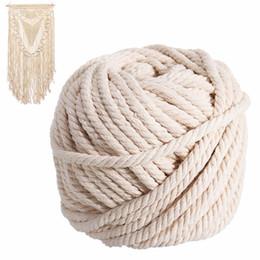 2019 lace stoff geschenk taschen Neue natürliche Baumwollschnur 6mm x 30m Macrame Seil Beige Twisted Schnur Artisan Hand Craft für handgemachte DIY Schmuck machen