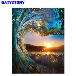 Wholesale acrylic painting landscape - Frameless Sunset Wave Diy Painting By Numbers Landscape Modern Wall Calligraphy Painting Acrylic Paint For Home Decor 40x50cm