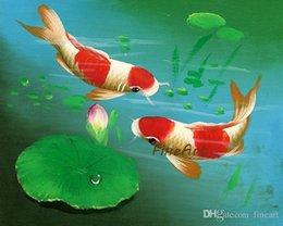 Pittura a olio di pesce koi online-Fatto a mano di buona qualità koi pesce tela pittura animale wall art wall canvas dipinti ad olio camera da letto migliore pittura di qualità olio