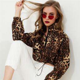 High Street Leopard Print Sweatshirts for Women Autumn Winter Shorts Lady  Hoodies Turtleneck Zipper Pullover Sweater fee42c41d