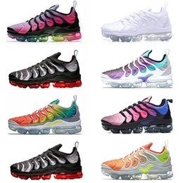 Wholesale tooth lights - 2018 Vapormax TN Plus mens running shoes Red Shark Tooth Reverse Sunset TRIPLE BLACK white Grape BETURE trainers sports sneakers size 40-45