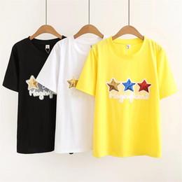 Deutschland Oversized Plus Size Coon Oansatz T-Shirt Frauen Kurzarm T-Shirt New Pentagram Pailletten Weiß Gelb T-Shirt Sommer Top cheap yellow sequin top Versorgung