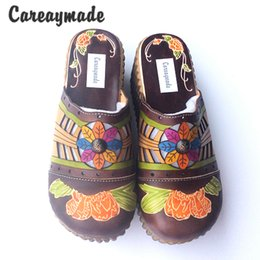 Wholesale pure folk - Careaymade-Folk style Head layer cowhide pure handmade Carved shoes, the retro art mori girl shoes,Women's casual Sandals958-21