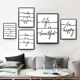 Wholesale Quote Canvas - Be Happe Quote Canvas Art Print Poster, Wall Picture for Home Decoration, Life Is Beautiful Letters Art Wall Print HD2193