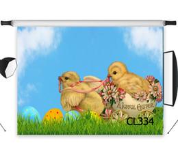 фотография Скидка A Joyful Easter Birds Eggs Polyester Backdrop Background Photography Studio Props Photographic Photo Seamless Washable No Crease