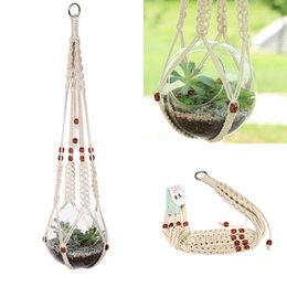 Wholesale Outdoor Potted Flowers - Hanging Macrame Plant Hanger Planter Holder Basket For Garden Flower Pot Indoor Outdoor Decoration ,Cotton Rope ,35 Inch (89cm )