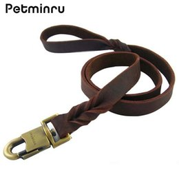 Wholesale Leather Dog Leads - Petminru Leather Dog Leash Quick Release Dog Pet Leashes Walking Training Leads Collars Harness