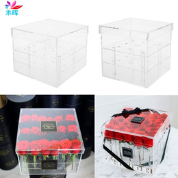 Wholesale girlfriend box - New Fashion Clear Acrylic Rose Flower Box Makeup Organizer Cosmetic Tools Holder Flower Gift Box For Girlfriend Wife With Cover