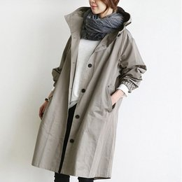 0477ed2da55 Plus Size 2018 New Spring Women Long Trench Coat Loose Slim Add Fat 200  Jins Coats Gray Black 906