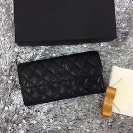 Vendre des pièces en Ligne-2017 vente Chaude noir classique D'origine en cuir matelassé portefeuille dames en cuir véritable long portefeuille mode embrayage petit sac à main avec boîte