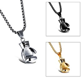 Wholesale Steel Boxing Gloves - 2018 Men Pendant Necklaces Black Steel Gold Color Fashion Mini Boxing Glove Necklace Boxing Jewelry Stainless Steel Pendant For Men & Women