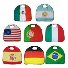 Kid usa flagge online-70 * 70 cm 2018 WM Nationalflagge Mantel Kostüm Cape USA Italien Deutschland Flagge Mantel Kleidung für Kinder Polyester Mantel CCA8748 50 stücke