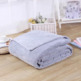 Wholesale Queen Blanket Soft - Wholesale- 2017 New High Quality Sofa Flannel Coral Fleece Blanket Solid Plain Color Mink Throw Soft Baby On The Bed Blankets