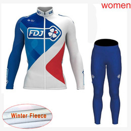 Wholesale Thermal Outdoor Pants Women - FDJ team Cycling Winter Thermal Fleece jersey pants sets 2018 new outdoor Keep warm Mountain Bike high quality Ropa Ciclismo women C2108