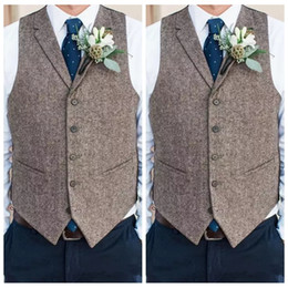 fashion chinese wedding dress Coupons - Country Farm Wedding Gray Wool Vests Custom Online 2019 Groom Vest Slim Fit Mens Dress Suit Vest Prom Wedding Waistcoat Tied Back Groom Vest