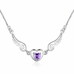 Wholesale Acrylic Angles - Angle Wing Natural Amethyst Ladies Pendant Necklace With Platinum Plated Chain Angle Love Jewelry For Women Gift