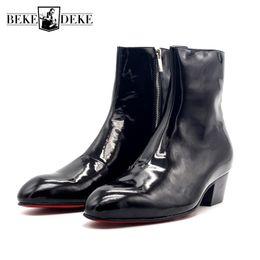 2019 los mejores zapatos italianos Winter Runway New Med Heels Hombres punta estrecha Botines Italian Handmade Genuine Leather High Top Punk Zipper Motor Biker Zapatos rebajas los mejores zapatos italianos