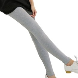 wholesale brown leggings Promo Codes - Modal Leggings Europe Russia Tide Women Preppy Style fabric Knitted Tight Waist Slim Ankle-Length Capris Pants Sexy Cute Elastic free size
