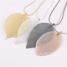 Wholesale Gold Leaf Design Necklace - Fashion Jewelry Maxi Necklace Rose Gold Color Chain Real Leaf Charm Design Pendant Necklaces & Pendants Women collier femme Gift