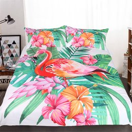 Wholesale Floral Duvet King - Free shipping gift tropical plant monstera flamingo floral pattern bedding set duvet Quilt Cover with 2 pillowcase Twin full Queen King size