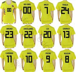 Wholesale Girls Red Shirts - Women Colombia Soccer Jerseys 10 JAMES 9 FALCAO 11 CUADRADO 8 AGUILAR 13 GUARIN SANCHEZ BACCA Yellow Custom Ladies Girls Football Shirts