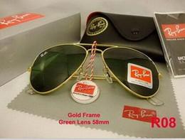 Wholesale Glass Resins - Excellent Quality Ray Aviator Sunglasses Bans Metal Frame Glass Lenses Brand Designer Sunglasses for Man Women Gafas de sol