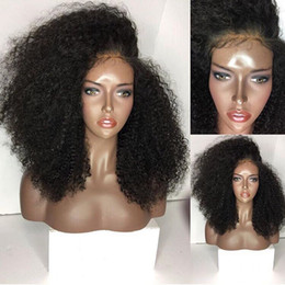 cheap kinky curly afro wigs Promo Codes - High Quality Cheap Afro Kinky Curly Wigs Heat Resistant Synthetic Lace Front Wigs With Natural Hairline Glueless Black Wigs For Black Women