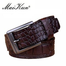 Wholesale Wide Vintage Leather Belt - New Crocodile Skin Printed Belts for Man Women Vintage Belt for Men Luxury Genuine Leather Men Belt Brand Design Strap