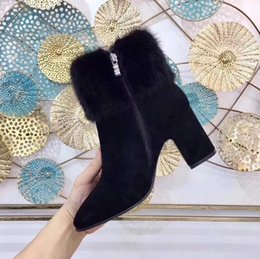 Wholesale Thick Soled Boots Women - 2018 with short boots All leather thick soles Martin boots Quality head layer cowhide + fine cow inside the wool legs: import suede