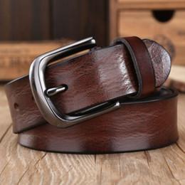 c9f2097160b 2018 casual black hebilla de los hombres correa de lujo de grano completo  cinturones de cuero genuino para hombres conchas de moda cinturón de  cintura del ...