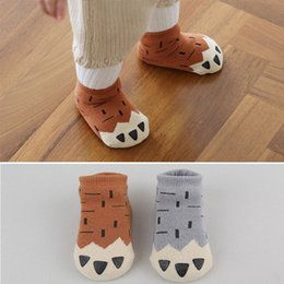 Wholesale Newborn Animal Socks - 5 styles Winter Baby Socks Thick Newborn Cartoon 0-4 Years Soft Cotton Paw Sock Kids Casual Meias Terry Anti Slip Boys Girls Socks
