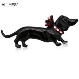 hundehalsbänder für frauen Rabatt ALLYES Black Dog Broschen Für Frauen Schmuck Nette Mode Weibliche Kleidung Kostüm Kragen Hut Emaille Pin Tier Brosche
