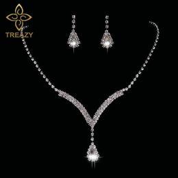 Orecchini a cristallo di diamanti del teardrop del rhinestone online-TREAZY Teardrop Set di gioielli da sposa in cristallo colore argento strass collana orecchini a forma di v gioielli da sposa per le donne