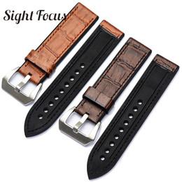 Полосы для пей-часов онлайн-Top Leather Bottom Rubber Watch Band Strap for  Watch Belt Men 20 22 24 26mm Male Bracelet Accessorie for Pam Strap
